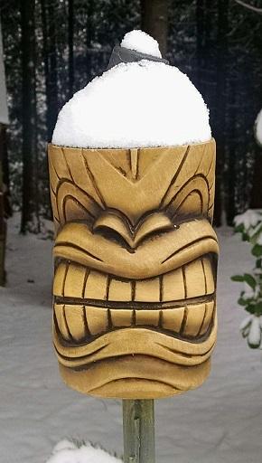 Snowy tiki torch