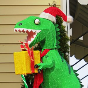 T-rex with Christmas present