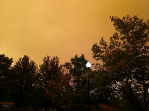 orange smokey sky from wildfires